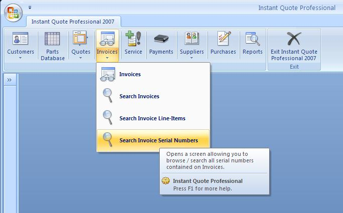 Search Invoice Serial Numbers Menu