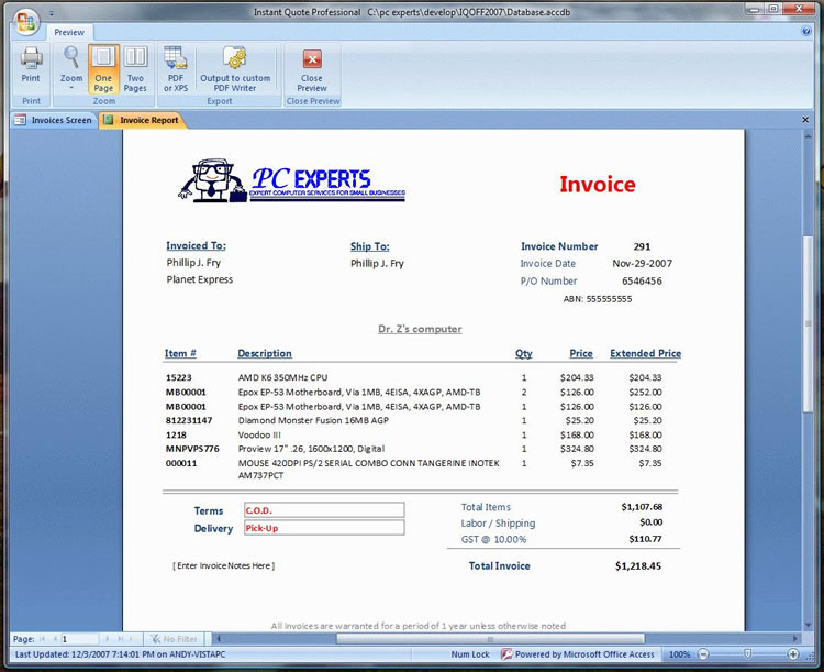 sample invoice form from instant quote professional - Sample Invoices